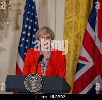 Washington, DC, 27. Januar 2017, USA: Präsident Donald J. Trump, begrüßt Premierminister des Vereinigten Königreichs, - Stockfoto