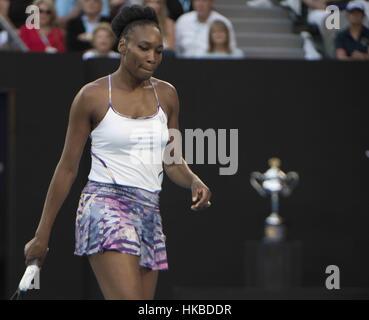 Melbourne, Australien. 28. Januar 2017. Vereinigten Staaten Venus Williams reagiert während der Frauen Einzel Finale - Stockfoto