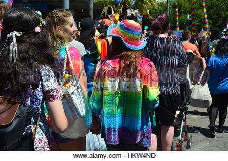 Melbourne, Australien. 29. Januar 2017. Mehr als 40.000 kommen zusammen auf den Straßen von Melbourne am 29. Januar - Stockfoto