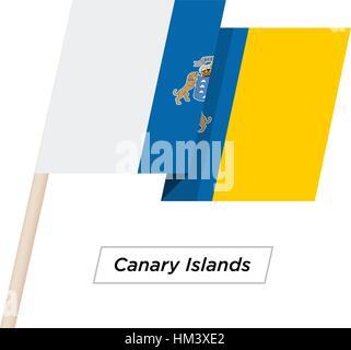 Kanarischen Inseln Ribbon wehende Flagge, Isolated on White. Vektor-Illustration. - Stockfoto