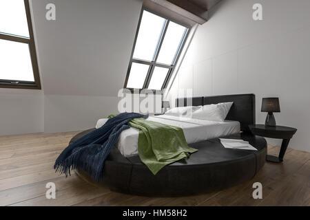 Designer Moderne Schlafzimmer Mit Schräge Fenster Und Minimalistische Möbel  Auf Parkett   Stockfoto