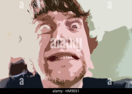 Illustration einer wütend oder verärgert junger Mann verzog das Gesicht. Gesichtsausdruck. Konzept, konzeptionelle. - Stockfoto