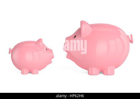 Zwei Sparschweine, 3D-Rendering isolierten auf weißen Hintergrund - Stockfoto