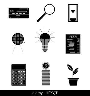 Schwarze Silhouette Business Icons. Rechner und finanzielle Planung Start überprüfen, Vektor-illustration - Stockfoto
