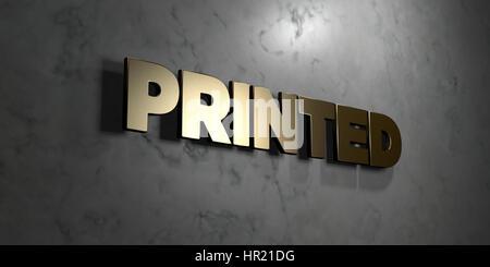 Gedruckt - Gold Zeichen auf glänzenden Marmor Wand - 3D gerenderten Lizenzgebühren freie stock Illustration montiert. - Stockfoto