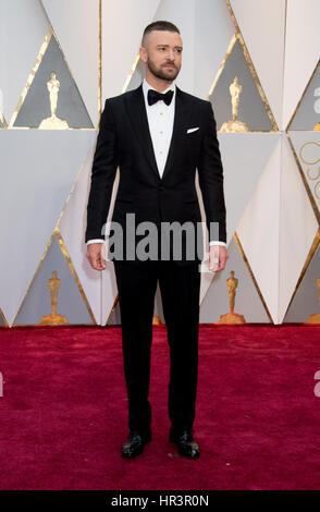 Hollywood, CA, USA. 26. Februar 2017. 26. Februar 2017 - Hollywood, Kalifornien - Justin Timberlake. 89. annual - Stockfoto