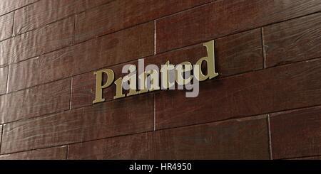 Gedruckt - Bronze Plakette an Ahorn Holz Wand - 3D gerenderten Lizenzgebühren frei Lager Bild montiert. Dieses Bild - Stockfoto