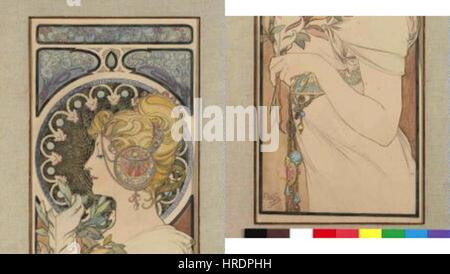 Autor Alfons Mucha-24.7.1860-14.7.1939 - Navrh Na Pano Pero - Stockfoto