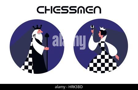 Schach-Stücke-Königin, König in einem flachen Stil - Stockfoto