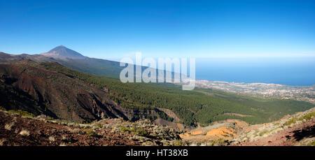 Pico del Teide und das Orotavatal, Teide National Park, Teneriffa, Kanarische Inseln, Spanien - Stockfoto