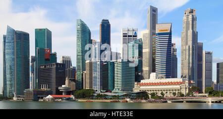 Skyline von Singapur, Central Business District, Fullerton Hotel, - Stockfoto
