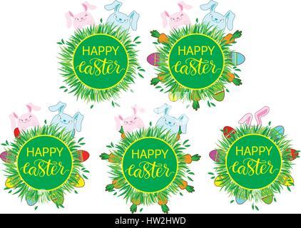 Ostern-Label mit banny, Eiern und Karotten. Ostern-Dekor-Vorlage. Aufkleberset lustige Ostern. Satz Aufkleber, Pins, - Stockfoto