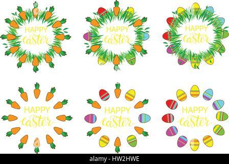 Ostern-Label mit Eiern und Karotten. Ostern-Dekor-Vorlage. Aufkleberset lustige Ostern. Satz Aufkleber, Pins, Patches - Stockfoto