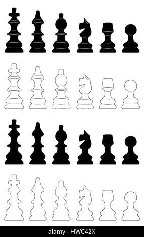Reihe von verschiedenen Schachfiguren isoliert auf weiss - Stockfoto