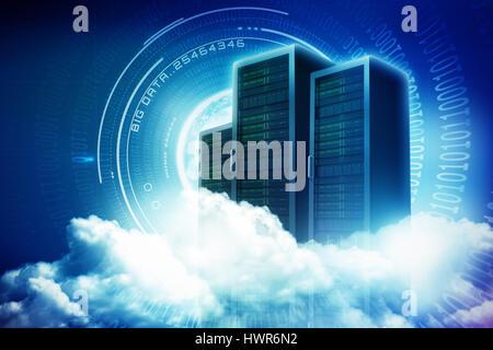 Malerische Aussicht auf weiße flauschige Wolken gegen die Spirale der glänzend Binär code 3d - Stockfoto