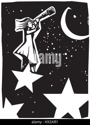 Holzschnitt Stil expressionistische Bild einer Frau, stehend auf einem Stern schaut in den Himmel mit einem Teleskop. - Stockfoto
