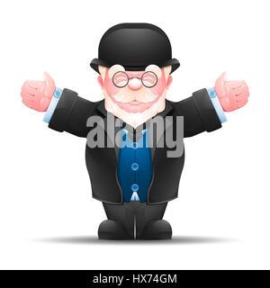 Ältere Mann streckte seine Hände zu beiden Seiten. In voller Länge Portrait von älteren Geschäftsmann in formellen - Stockfoto
