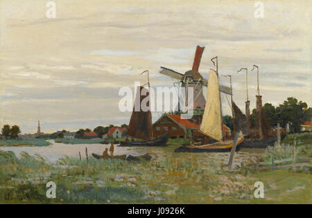 CLAUDE MONET 1840-1926 UN MOULIN À ZAANDAM - Stockfoto
