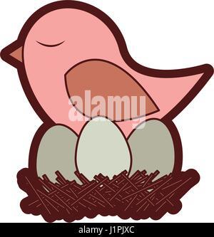 bunte Dicke Silhouette der Vogel im Nest mit Eiern - Stockfoto