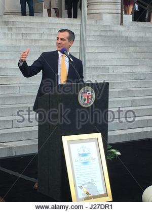 "Los Angeles, USA. 25. April 2017. Los Angeles Bürgermeister Eric Garcetti erklärt 25 April ""La La Land Day"" bei - Stockfoto"