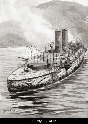Das spanische Schlachtschiff Oquendo sehen Sie hier nach der Marine Verlobung in Manila Bay, während des Spanisch - Stockfoto