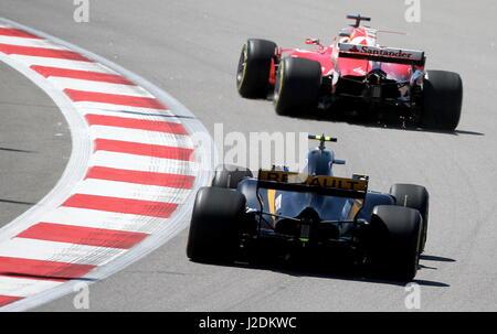 Sotschi, Russland. 28. April 2017. Ein Training für die 2017 Formula One VTB russischen Grand Prix auf der Rennstrecke - Stockfoto