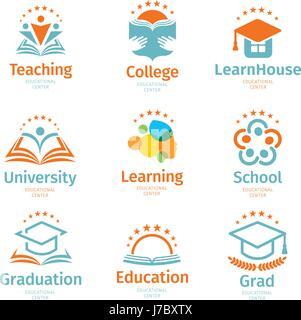 Isolierte abstrakt bunt Bildung und lernen Logo Set, Universität und Schule Bücher, Diplom Hüte und menschliche - Stockfoto