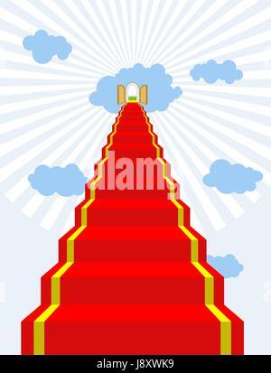 Treppe zum Paradies. Roter Teppich in Himmel. Tore des Paradieses. Türen in den Wolken. Vektor-Illustration der - Stockfoto