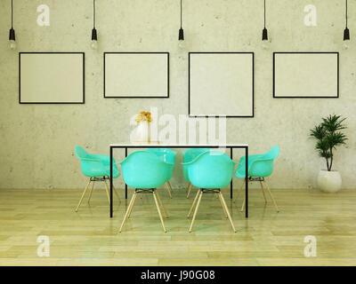 Schöner Esstisch mit türkisen Stühlen auf Holzboden vor einer Betonwand mit Bilderrahmen und abgehängte Leuchten - Stockfoto