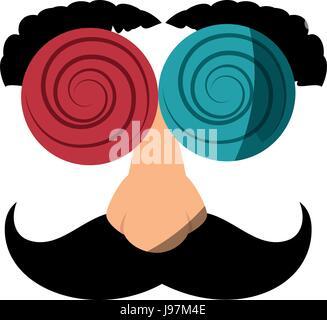 Brillen mit Schnurrbart Witz Maske - Stockfoto