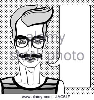 Hipster-Porträt mit Sprechblase, hand gezeichnete Abbildung eines Mannes mit Bart und Brille über einen Hintergrund - Stockfoto