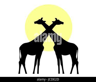 Giraffen schwarze Silhouette gegen die Sonne-Vektor-Bild - Stockfoto