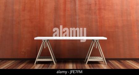 Schreibtisch auf einem Holzfußboden - Stuck bemalten Wand. 3D illustration - Stockfoto