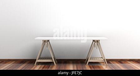 Büro-Schreibtisch auf einen Holzboden - weiße Wand. 3D illustration - Stockfoto