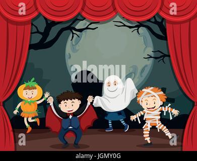 Kinder Halloween-Kostüm auf der Bühne Abbildung - Stockfoto