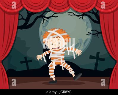 Junge in Zombie Kostüm auf der Bühne Abbildung - Stockfoto
