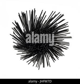 Über den Kopf Blick auf Tintenfisch Tinte schwarze Spaghetti auf weißem Hintergrund isoliert in einem runden Spirale - Stockfoto