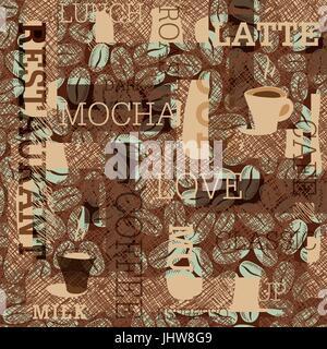 Kaffee unter dem Motto nahtlose Hintergrund - Stockfoto