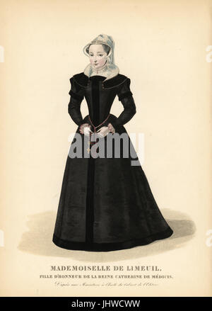 Isabelle de Limeuil, Trauzeugin und Spion für Königin Catherine de Medici von Frankreich, 1535-1609. Sie trägt einen - Stockfoto