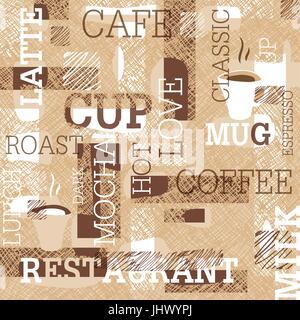 Kaffee unter dem Motto Seamless Pattern. Worte, Tassen Kaffee und kreativen Kritzeleien. Beige und braun Gamut. - Stockfoto