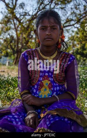 Porträt eines jungen indischen Mädchen, Hampi, Karnataka, Indien - Stockfoto