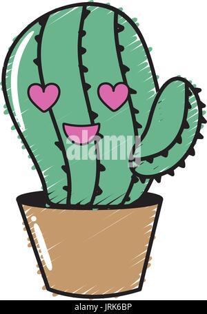 Kawaii niedlich in Liebe Kaktus Pflanze - Stockfoto