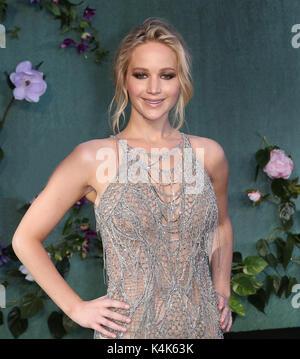 London, Großbritannien. 06 Sep, 2017. Jennifer Lawrence, Mutter! - UK Film Premiere, Leicester Square, London, UK, - Stockfoto