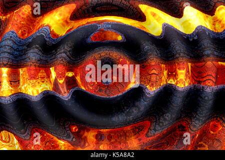 Welligen kreisförmigen Grafik Collage mit brennenden Lagerfeuer Motiv. - Stockfoto