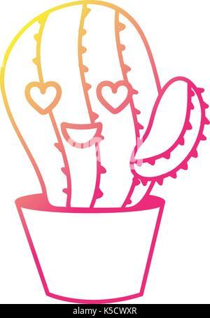 Silhouette Kawaii niedlich in Liebe Kaktus Pflanze - Stockfoto