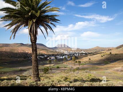 Blick über Kakteen und weiß getünchten Häusern, Monte Corona Vulkan Kegel, Dorf Haria, Lanzarote, Kanarische Inseln, - Stockfoto