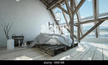 Trendy Hipster Modernes Loft Conversion Schlafzimmer Mit Unordentlichen  Palette Bett, Große Fenster, Holzboden Und