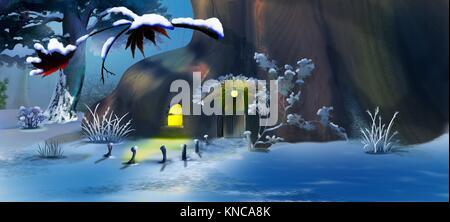 Der Wald Gnome Haus in Eve zum Neuen Jahr. Panorama Blick. Handgefertigte Abbildung in einem klassischen Cartoon - Stockfoto