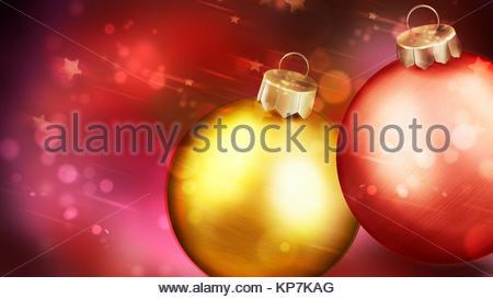 Weihnachten rot Abstrakt Hintergrund mit Nahaufnahme von zwei Kugeln in den Vordergrund. - Stockfoto