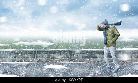 In einem schneesturm Fußgängerzone - Stockfoto